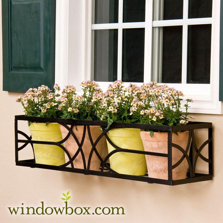 Exterior Rod Iron Window Boxes | Window Box Cage (Square Design) - Wrought Iron Window Boxes - Window ...