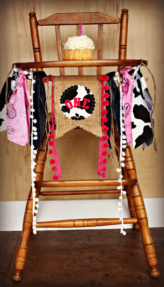 Rodeo Cowgirl Birthday Age HIGH CHAIR highchair by RawEdgeSewingCo, $19.95