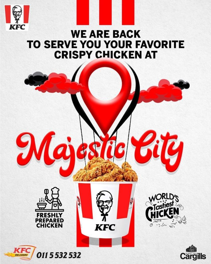 KFC Majestic City outlet is now open as well so that you
