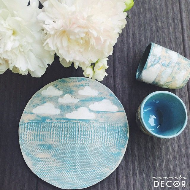 Sky on the plate. Handmade ceramic dishes with love!   #ceramics #clouds