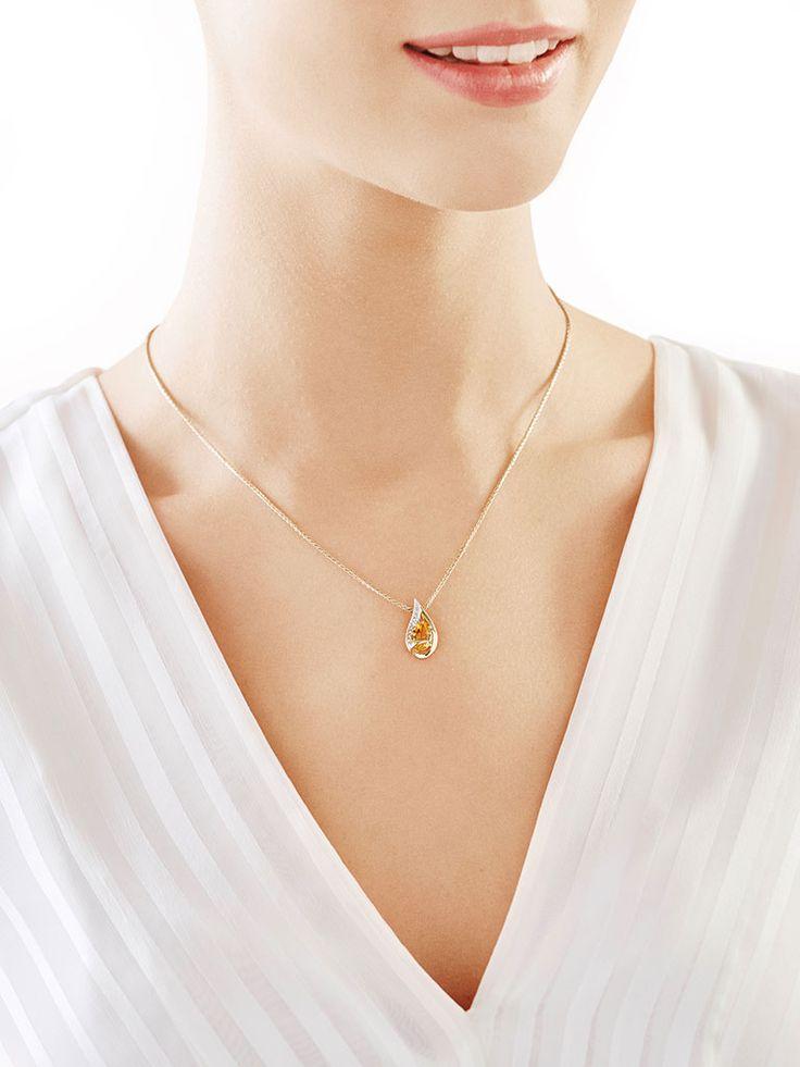 Zawieszka z żółtego złota z diamentem i cytrynem - wzór 119.111 / Apart