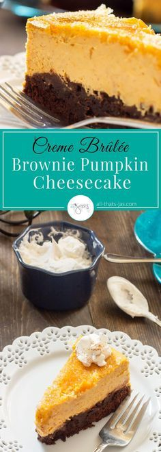 This amazing creme brulee brownie pumpkin cheesecake recipe with a fudgy brownie crust, creamy pumpkin cheesecake and a crispy caramelized sugar top is absolutely sinful and perfect for Thanksgiving.