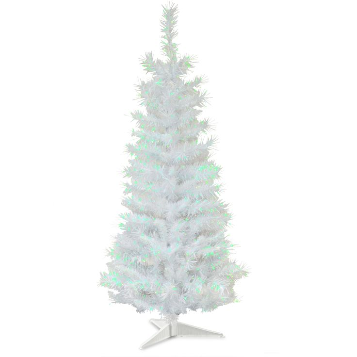 Tinsel Trees 3' White Artificial Christmas Tree with Plastic Stand