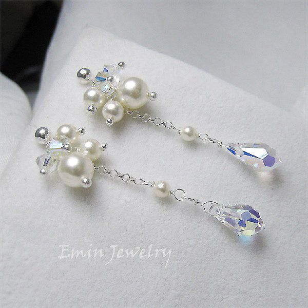 Swarovski Ivory Pearl AB Crystal Sterling Silver Clustering Bridal Earrings. $35.00, via Etsy.