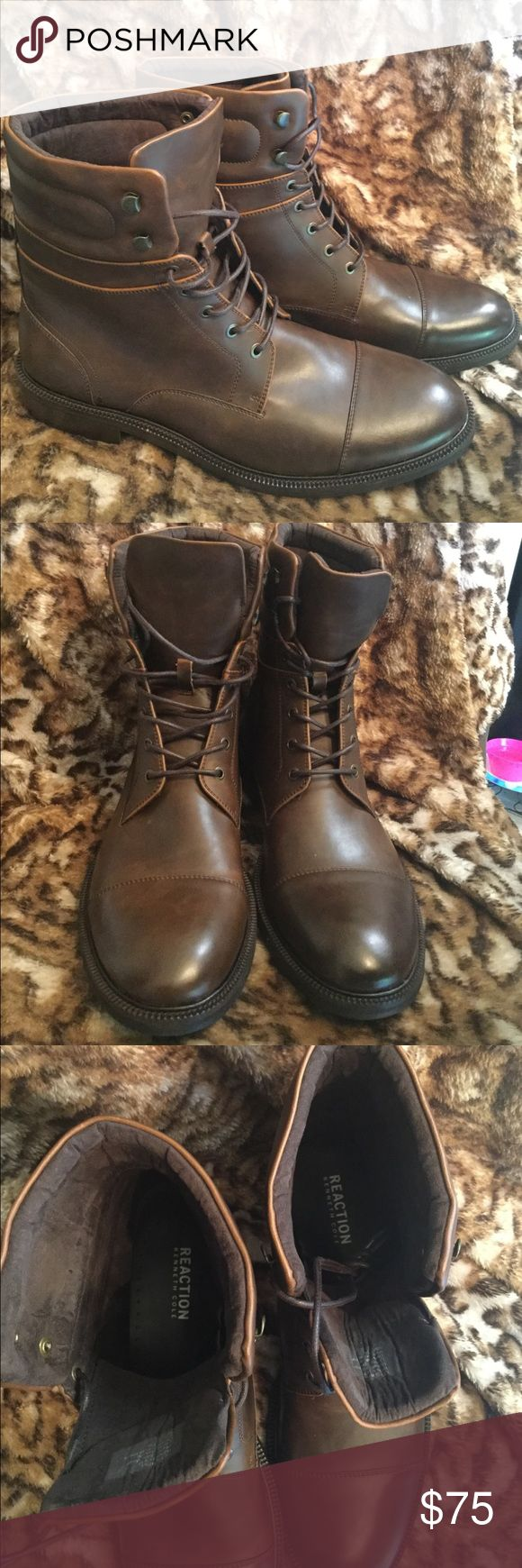 "NWOT Reaction Kenneth Cole Men's Brown Boots NWOT Reaction Kenneth Cole ""Let's Roll"" Men's Brown Combat Boots Kenneth Cole Reaction Shoes Boots"