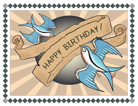 Birthday Card, Happy Birthday, Swallows, Tattoo Style Art, 50s, Rockabilly, Greeting Card, Blank Inside
