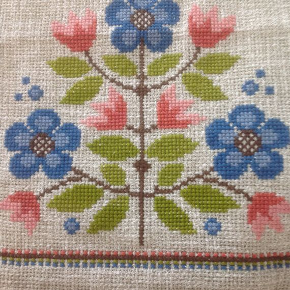 Scandinavian Table Runner, Vintage Swedish Dresser Scarf Embroidered Linen Floral Cloth Linens Blue Green Pink Flowers SIZE: About 36 X 14 CONDITION: Excellent (Pristine) Vintage Condition DETAILS: Very pretty and bright floral table runner purchased and shipped from the