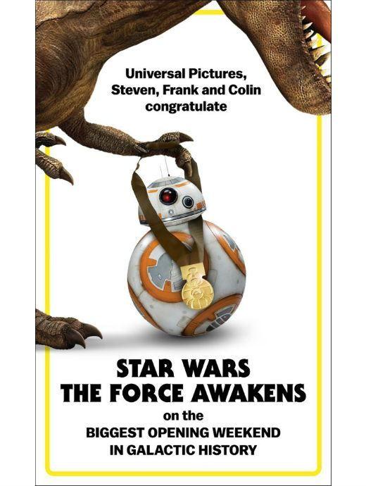 Steven Spielberg e equipe de Jurassic World parabenizam recorde de Star Wars - O Despertar da Força - Notícias de cinema - AdoroCinema