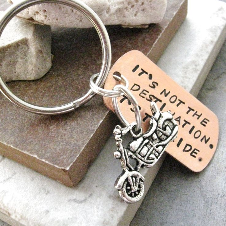 Motorcycle Key Chain, Its not the destination, its the ride, motorcycle charm, bike charm also avail, for men, women. $14.95, via Etsy.