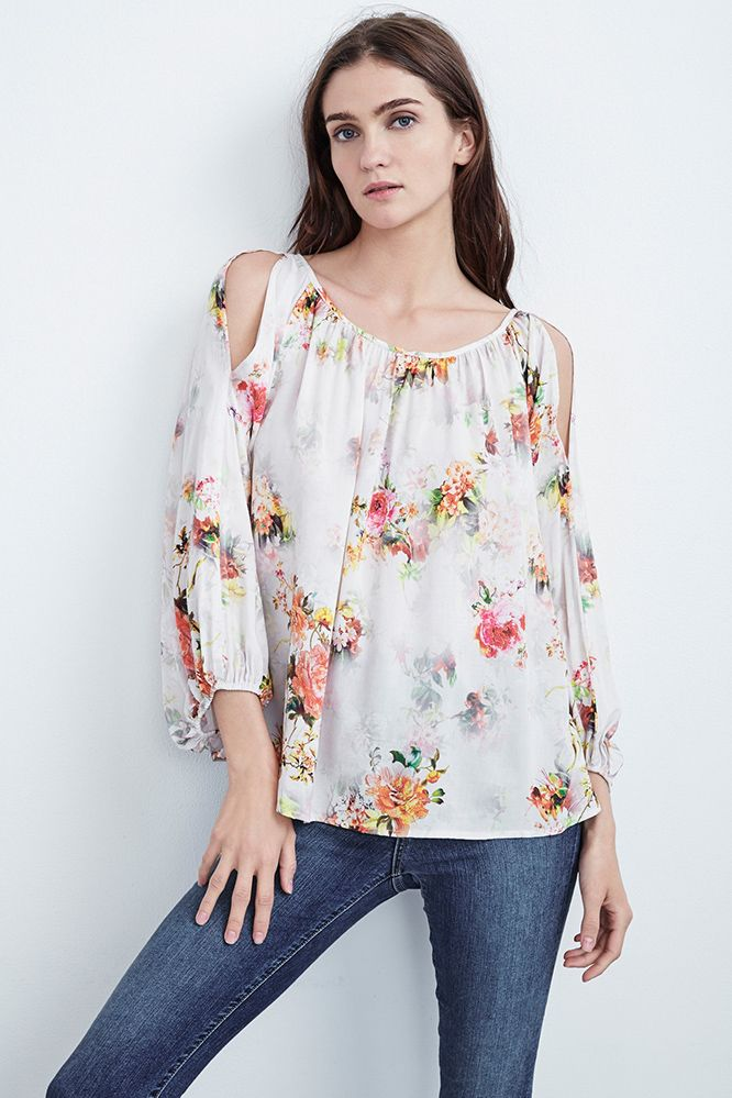 Velvet By Graham & Spencer Woman Abiel Off-the-shoulder Printed Gauze Top Ivory Size XS Velvet Amazing Price Sale Online Cheap Popular Discount How Much sP6mQlg