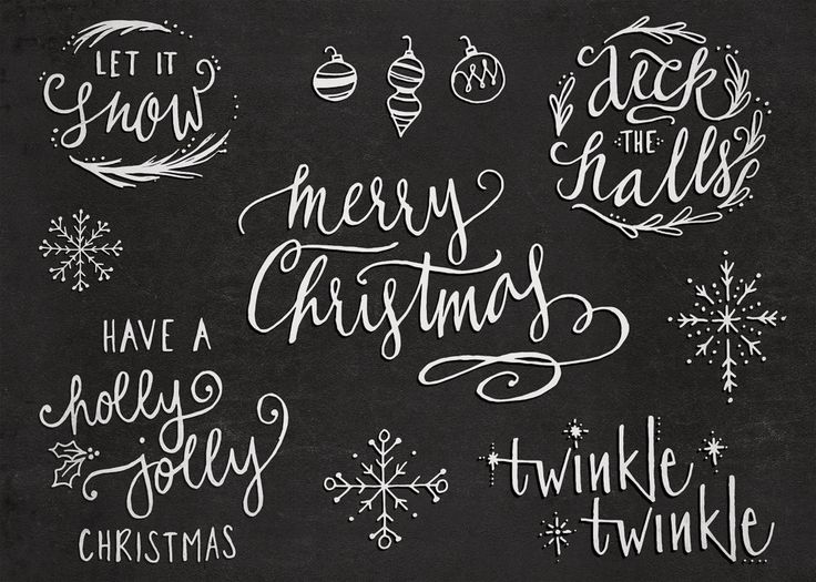 Hand-Lettered Christmas Overlays with Bonus Hand Drawn Illustrations - Transparent Photoshop and PNG Files - pinned by pin4etsy.com