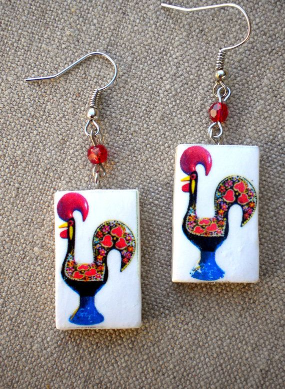 Made in Portugal Rooster Galo de Barcelos Earrings by Atrio,