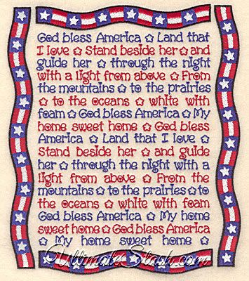 USA God Bless America Song Lyrics With Banner Portrait Patriot 4th of July Machine Embroidery Design