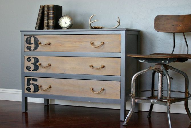 Very Restoration Hardware. Graphic numbers painted on drawers. Bare wood. Love the rope pulls. One of my dressers has this as a quick fix for a broken drawer pull.