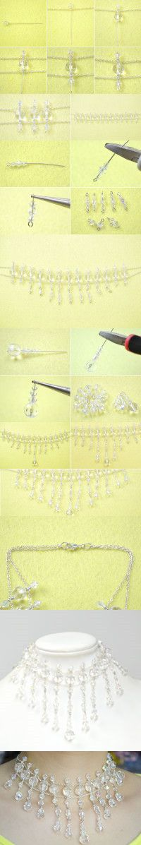 Wedding Jewelry Ideas on How to Make Stunning Necklace with Crystals from LC.Pandahall.com     #pandahall