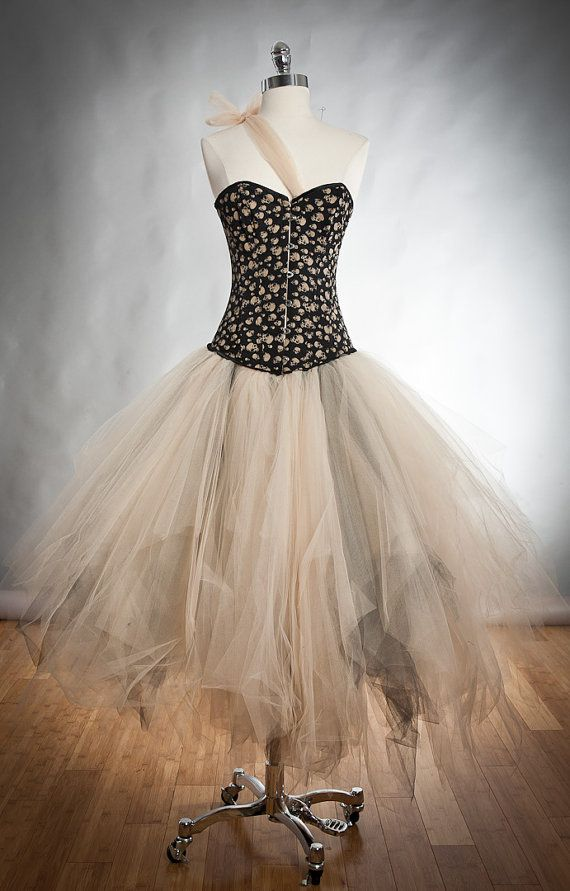 Size small ivory and black skulls and tulle by Glamtastik on Etsy, $350.00