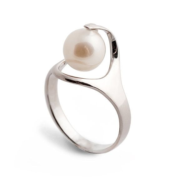 RA Pearl Engagement Ring Unique Gold Pearl Ring 14K by arosha, $440.00