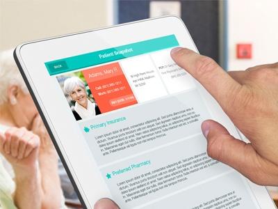 """iPad App - """"Patient Snapshot"""" screen"""