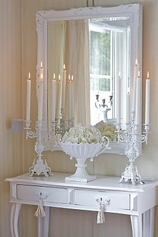 white desk and mirror...