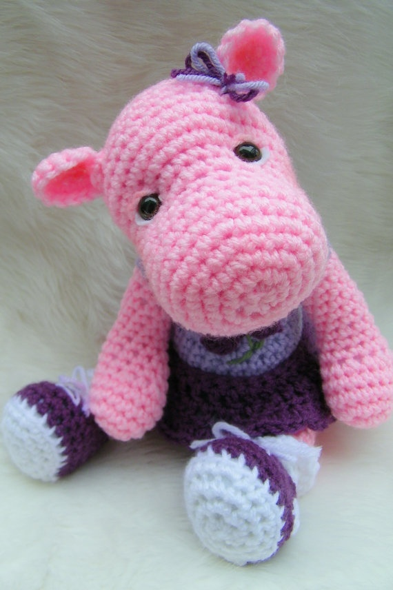 Hippo Toy Crochet Pattern Pdf Format By Thewoolpurl On