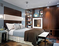 Candice Olson - bedrooms - blue, bedroom, striped, wood, headboard, blue, brown, bedding, fireplace, candice olson boys room, candice olson kids rooms, candice olson rooms, candace olson design, candice olson interior design, candice olson,