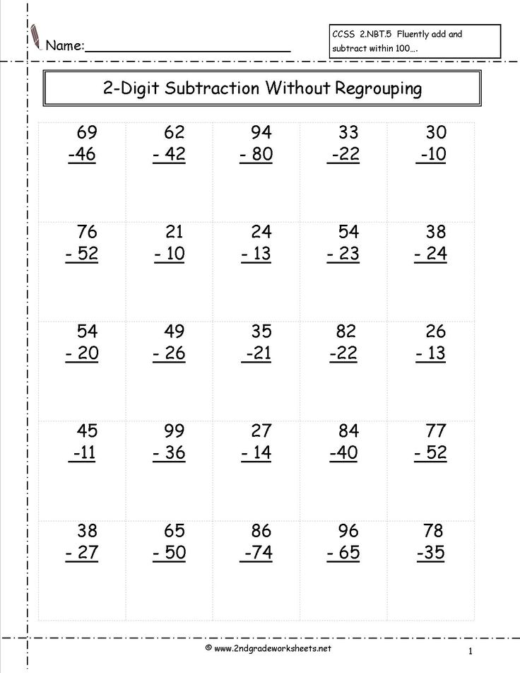two digit subtraction without regrouping worksheet   2nd ...