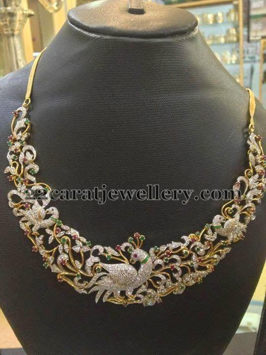 Jewellery Designs: Gemstones and Diamonds Peacock Set