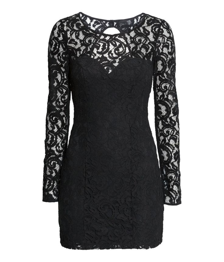 Short, fitted black lace dress with long sleeves, open back, and covered buttons at back of neck.│Party in H&M