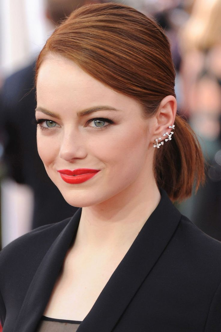 Looking for a polished alternative? Make like Emma Stone and pull your locks into a ponytail with a deep side part.