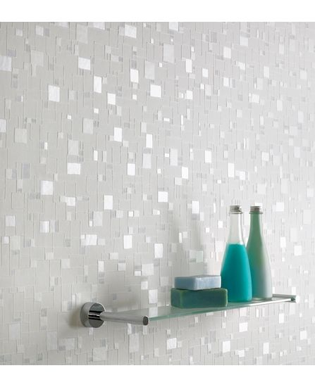 Textured wallpaper looks like tiny mirrors. Brighten a bathroom accent wall