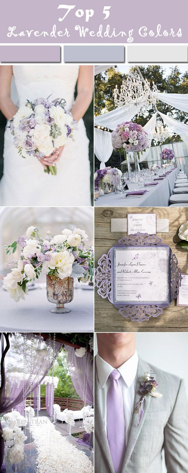 Elegant Lavender, Pearl White and Grey Wedding Party Ideas #ElegantWeddinginvites