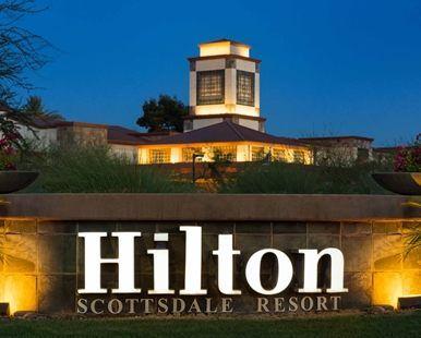 Hilton Scottsdale Resort & Villas, AZ Hotel - Exterior Night Closeup  | AZ 85250