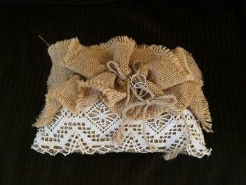 Ring Bearer Pillow - Burlap & Lace