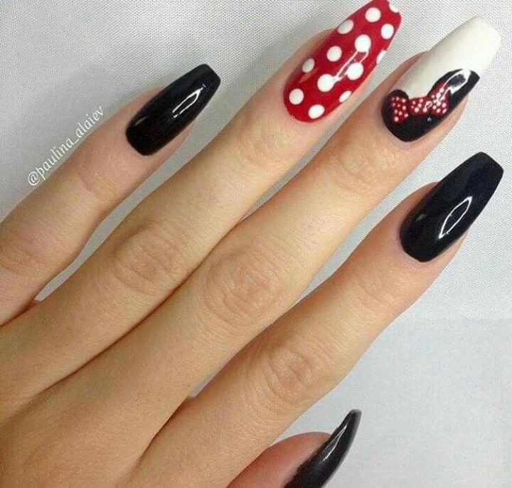 Unhas Desenhadas Mickey Nails Disney Acrylic Nails Minnie Mouse Nails