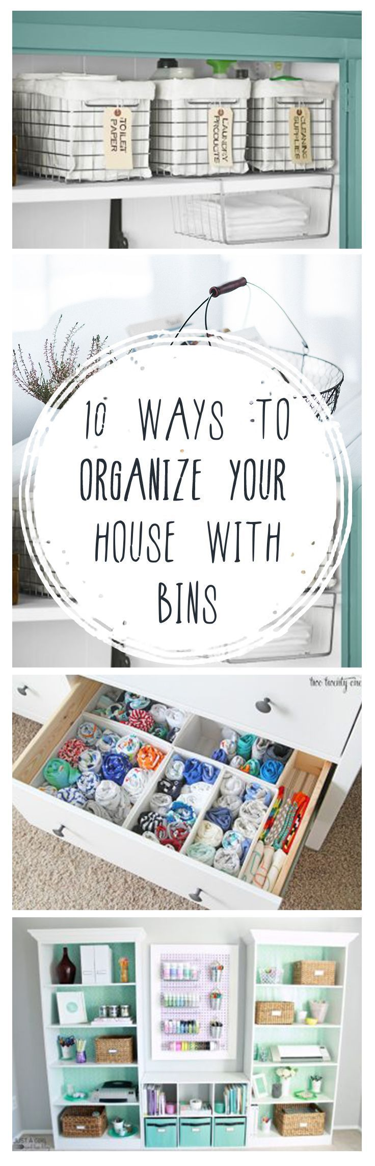 Organize your house with bins using these ideas.
