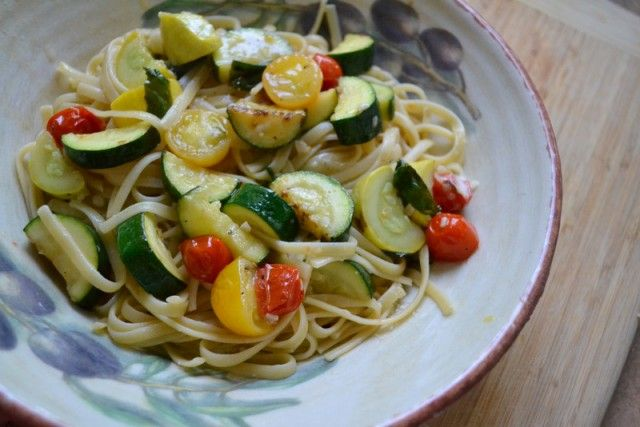 vegetable pasta (with grilled zucchini & yellow squash, cherry tomatoes, basil, garlic, parmesan, red chili powder and EVOO)