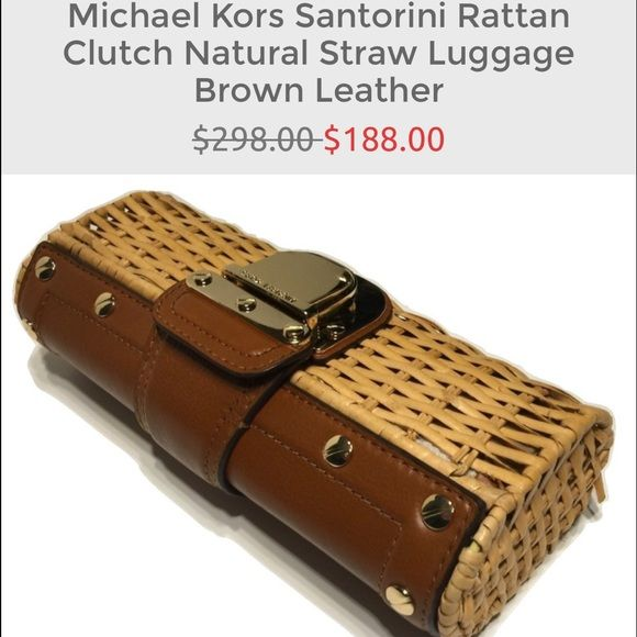 """Michael Kors Santorini Rattan Clutch Natural Straw Michael Kors Santorini Rattan Clutch Natural Straw Luggage Brown Leather  Beautiful natural straw with leather and gold hardware accents Large enough to fit any iphone, lipstick, credit cards and other personal items Measures approximately 5""""H x 10""""W x 2.5""""D Michael Kors Bags Clutches & Wristlets"""