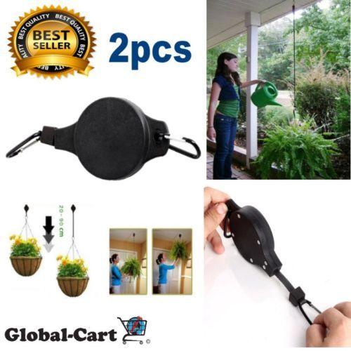 Plastic Retractable Hanging Basket Pull Down Hanger for Garden Flower Plant 2pcs