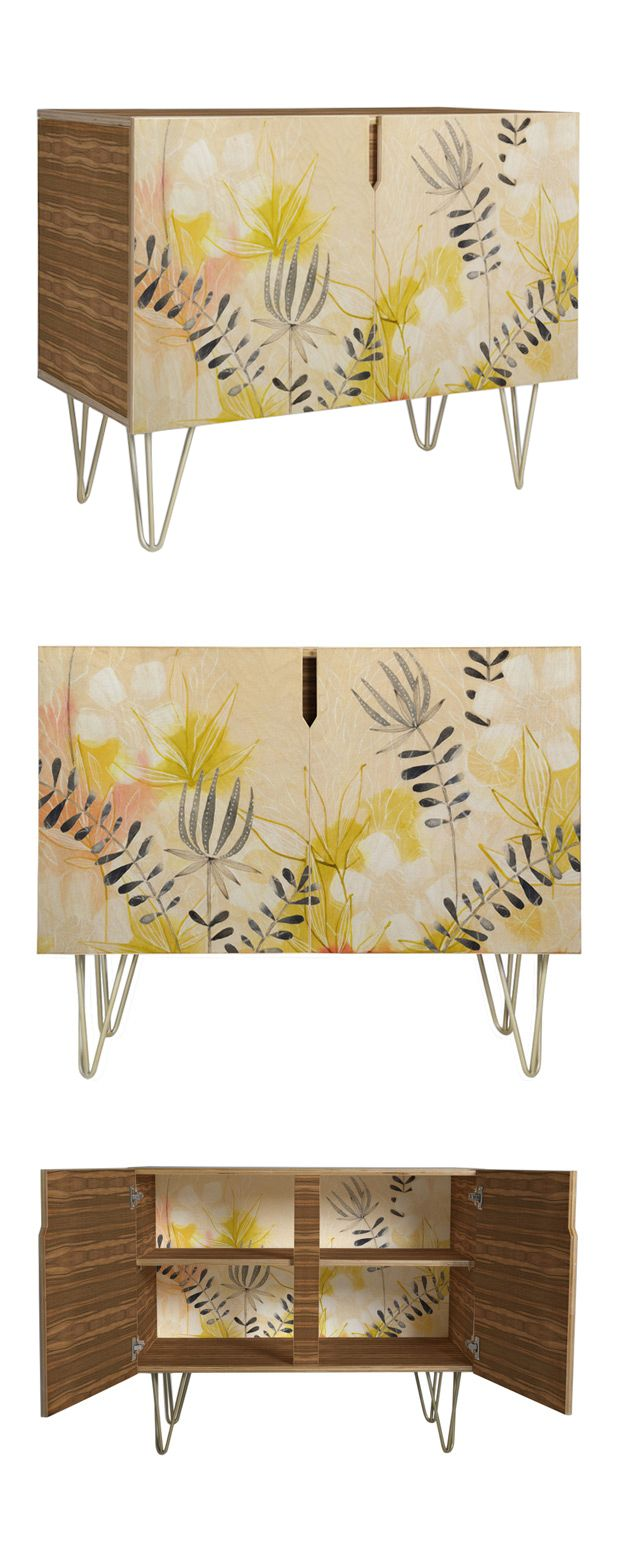 Delicate flowers and ferns dance over a subtle tone of blush, reinforcing your love of vintage-inspired furnishings that resemble works of art. You'll covet this Jaffrey Credenza for its ability to tra...  Find the Jaffrey Credenza, as seen in the Portland's Bohemian Mid-Century Collection at http://dotandbo.com/collections/portlands-bohemian-mid-century?utm_source=pinterest&utm_medium=organic&db_sku=115712