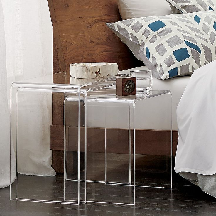 Peekaboo Clear Coffee Table: 3-piece Peekaboo Acrylic Nesting Table Set