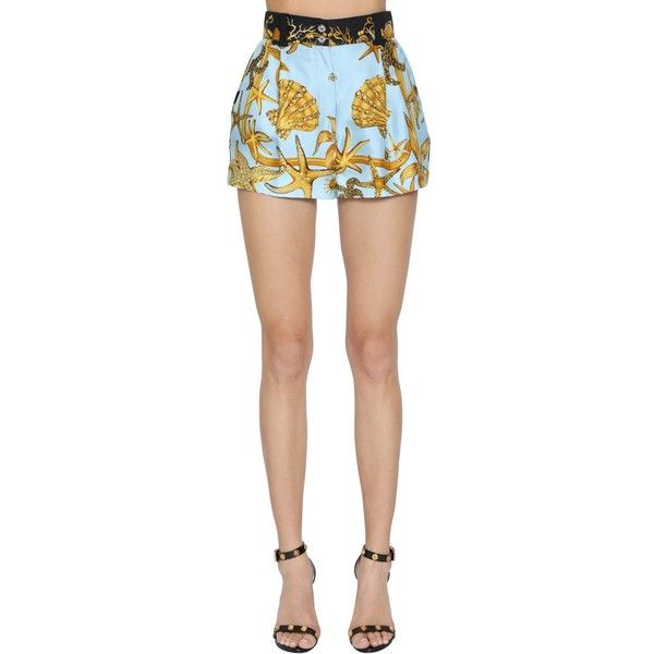 Versace Women Tresor De La Mer Print Silk Twill Shorts (3.470 BRL) ❤ liked on Polyvore featuring shorts, high waisted print shorts, print shorts, high-rise shorts, versace shorts and high-waisted shorts