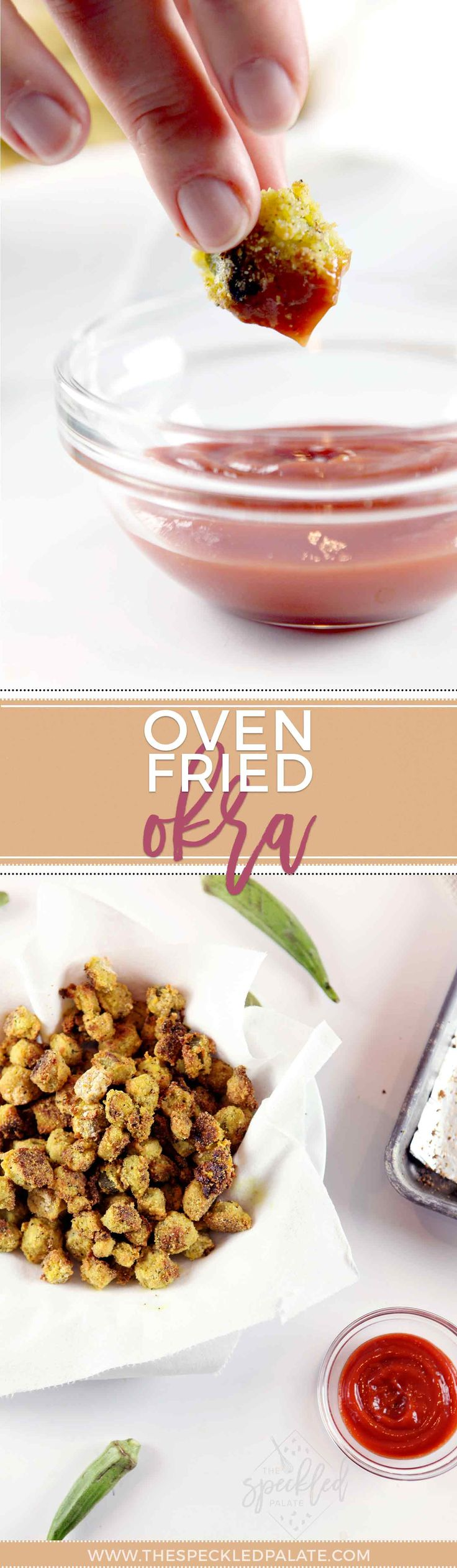 Fried Okra | Healthier Side Dish | Oven Fried Okra | Southern Side Dish | Southern Recipe  via @speckledpalate