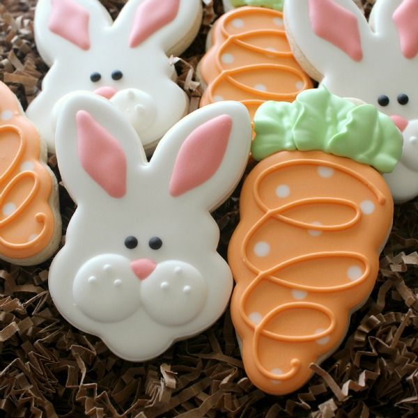 "Bunny Face and Carrot Cookie, find under Cookies - Holiday - Easter - ""Polka Dot Carrot Cookies"""