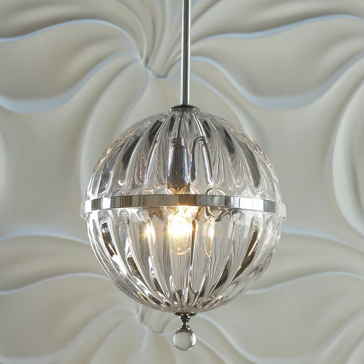 Fluted Glass Globe Pendant   Small