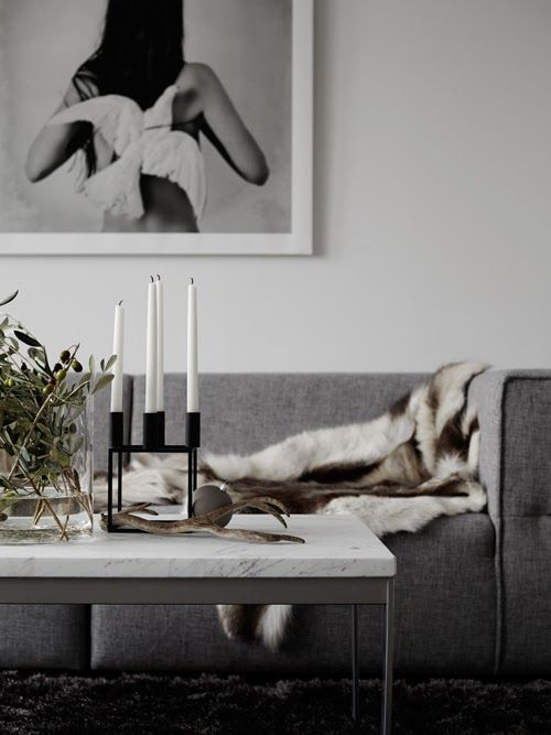 Want to curl up here - grey and fur and antlers