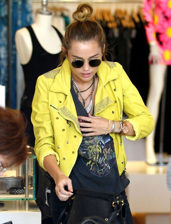 Miley Cyrus in Drome Studded Leather Jacket