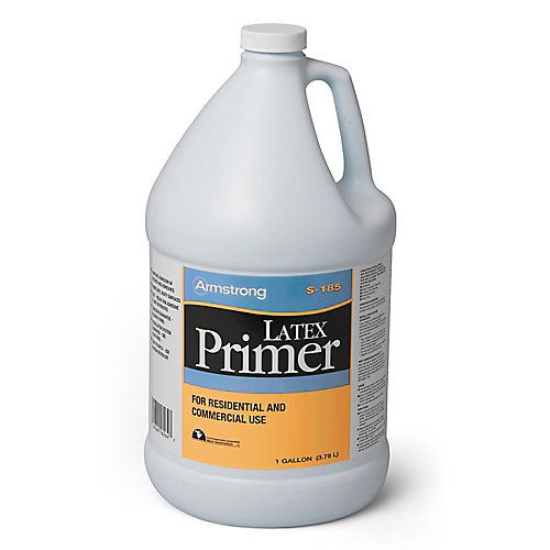 Armstrong S-185 Latex Primer is a latex-based liquid primer recommended for use with all Armstrong patches, underlayments and latex based adhesives. Can be used on all grade levels of concrete, poured in place gypsum underlayments, approved wood underlayments, ceramic tile, quarry tile, terrazzo and marble. Use this product with positive fresh air ventilation.