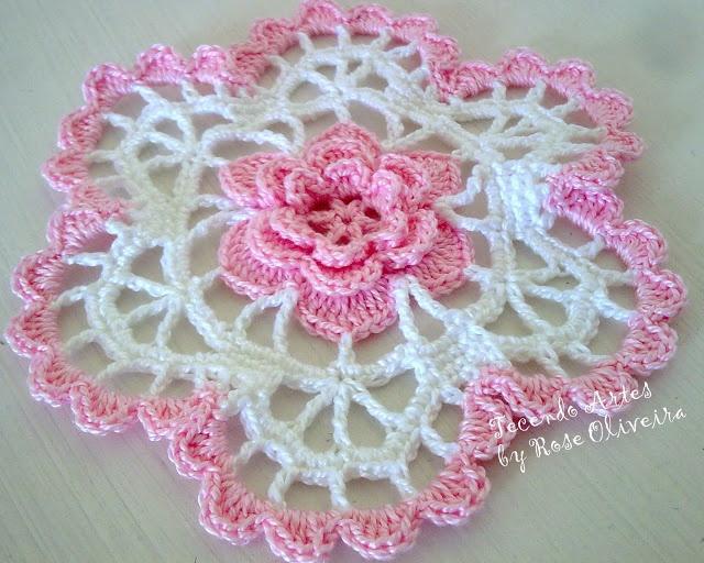 Tecendo Artes em Crochet: Toalhinha Flor Mimosa!