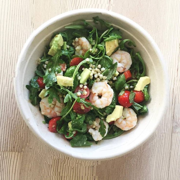 Wildleaf's Ancient Grains Salad features sorghum seed, wild arugula, avocado, cherry tomatoes and a lemon vinaigrette, pictured here with added shrimp. Image: Wildleaf