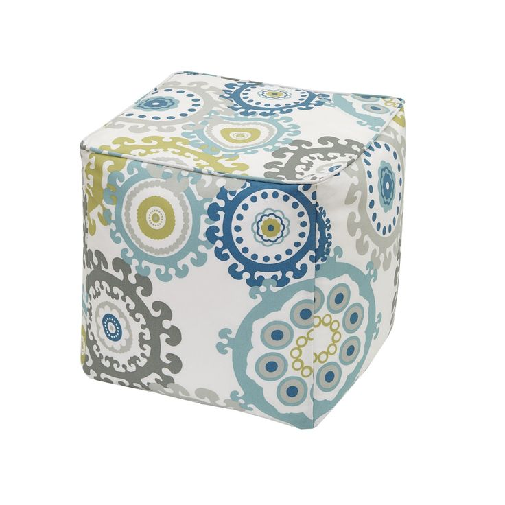 Madison Park Carmel Blue Multi Printed Medallion 3M Scotchgard Indoor-Outdoor Pouf (18x18x18-Blue Multi), Size Specialty (Polyester)